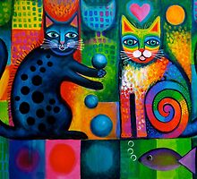 Two cheeky cats Acrylics by Karin Zeller