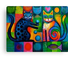 Two cheeky cats Acrylics Canvas Print