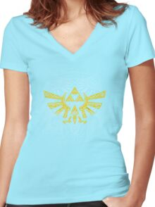 Hyrule Emblem Yellow Women's Fitted V-Neck T-Shirt