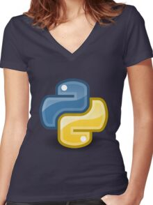 Python logo Women's Fitted V-Neck T-Shirt
