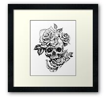 Skull And Roses Framed Print