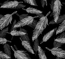 Black and white feathers pattern  by SIR13