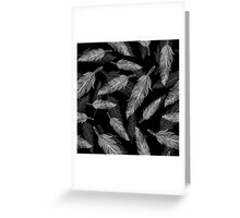 Black and white feathers pattern  Greeting Card
