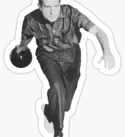 President Richard Nixon Bowling At The White House Sticker