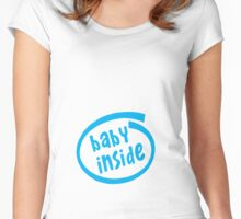 Baby inside Blue Women's Fitted Scoop T-Shirt