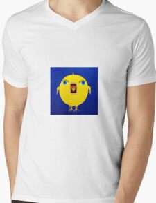 Yellow Bird with Lashes Mens V-Neck T-Shirt