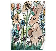 Rabbit Surrounded by Flowers Poster