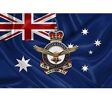 Royal Australian Air Force - RAAF Badge over Australian Flag Photographic Print