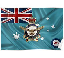 Royal Australian Air Force Badge over RAAF  Ensign Poster