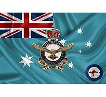 Royal Australian Air Force Badge over RAAF  Ensign Photographic Print