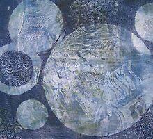 Blue Cosmos Monoprint by Heatherian