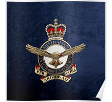 Royal Australian Air Force - RAAF Badge over Blue Velvet Poster