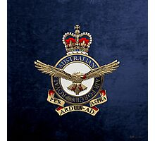 Royal Australian Air Force - RAAF Badge over Blue Velvet Photographic Print