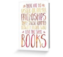 Bookish Friendship (Red) Greeting Card