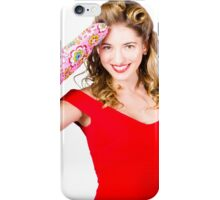 Blond pinup woman saluting in cooking glove iPhone Case/Skin