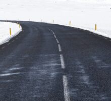 Snowy Road Ahead Nature Fine Art Photography 0021 Sticker
