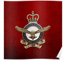 Royal Australian Air Force - RAAF Badge over Red Velvet Poster