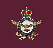 Royal Australian Air Force - RAAF Badge over Red Velvet Unisex T-Shirt