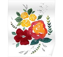 Watercolor flowers with yellow rose. Poster
