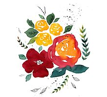 Watercolor flowers with yellow rose. Photographic Print