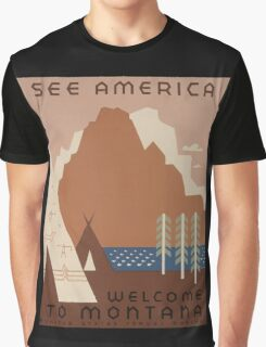 'Montana' Vintage Travel Poster Graphic T-Shirt