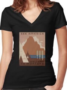 'Montana' Vintage Travel Poster Women's Fitted V-Neck T-Shirt