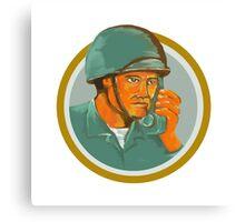 American Soldier Serviceman Calling Radio Watercolor Canvas Print