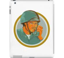 American Soldier Serviceman Calling Radio Watercolor iPad Case/Skin