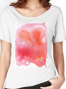 Abstract watercolor spot with red, blue and orange colors. Women's Relaxed Fit T-Shirt
