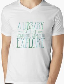 A Library Is Full Of Wonderful Worlds (Blue) Mens V-Neck T-Shirt