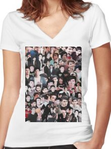 phan collage Women's Fitted V-Neck T-Shirt