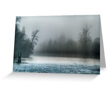 Remnant of a Washed Out Bridge on a Foggy Afternoon Greeting Card