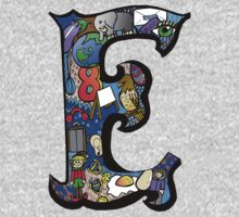 Doodle Letter E One Piece - Short Sleeve