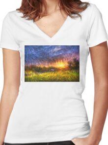 Modern Landscape Van Gogh Style Women's Fitted V-Neck T-Shirt