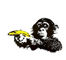 Monkey To Banana guns Photographic Print