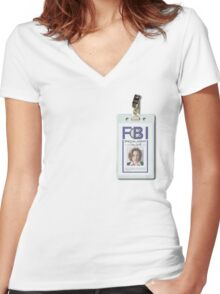 Dana Scully Badge Women's Fitted V-Neck T-Shirt