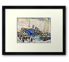 Olympic with Returned Soldiers in dazzle at Halifax, Nova Scotia  Framed Print