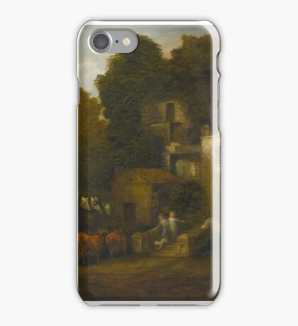 Thomas Gainsborough, R.A. WOODED LANDSCAPE WITH CHILDREN DESCENDING THE STEPS OF A MANSION iPhone Case/Skin