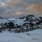 Sunset over Stoos Switzerland by Ron Finkel