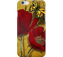 Red Poppies with Monarch Butterflies iPhone Case/Skin
