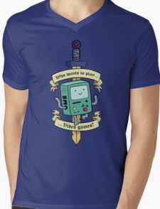 Beemo - Wanna Play Video Games? Mens V-Neck T-Shirt
