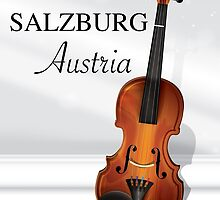 Vienna Austria Violin travel poster by Nick  Greenaway