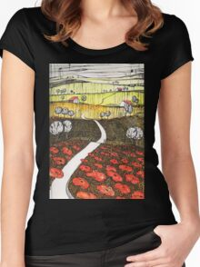 Vista over the poppyfields Women's Fitted Scoop T-Shirt