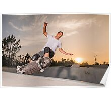 Skateboarder in a concrete pool  Poster