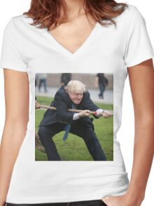 Boris Johnson takes part in a tug of war outside City Hall Women's Fitted V-Neck T-Shirt