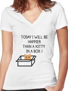 Happier than a kitty in a box CATS Women's Fitted V-Neck T-Shirt