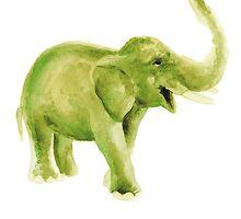 Green elephant watercolor art print painting by Joanna Szmerdt