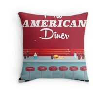 All American Diner Retro Poster Throw Pillow