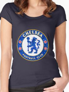 Chelsea FC Tile Pattern  Women's Fitted Scoop T-Shirt