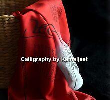 CALLIGRAPHY SILK STOLES by Kamaljeet Kaur